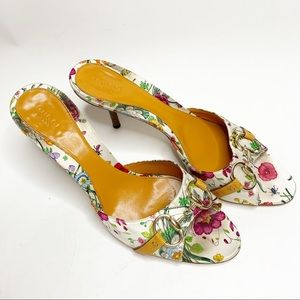 Gucci Floral Horsebit Open Toe Heel 10B